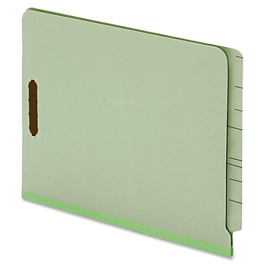 Globe-Weis End Tab Pressboard Folder with Fastener, Letter, 2 Fastener(s), Light Green, Recycled, 25 / Box (PFX44715)
