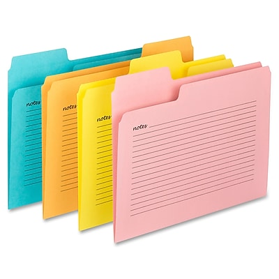 "Smead SuperTab Notes File Folders, Letter, 8.50"" x 11"" Sheet Size, 1/3 Tab Cut, Assorted colors, 12 / Pack (SMD11650)"