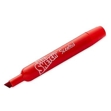 Mr. Sketch® Cherry Scented Watercolor Markers, Chisel Tip, Red, 12/pk (20002TL)
