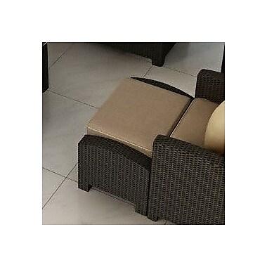 Forever Patio Barbados Ottoman w/ Cushion; Spectrum Mushroom / Spectrum Sand Welt