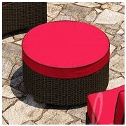 Forever Patio Barbados Ottoman w/ Cushion; Flagship Ruby / Canvas Bay Brown Welt