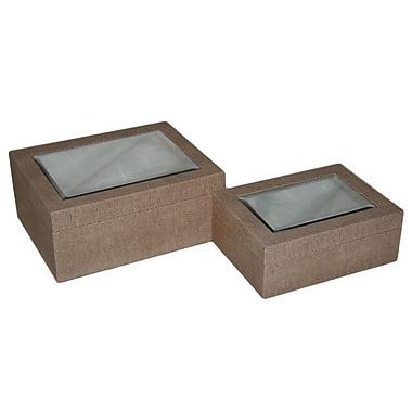 Cheungs 2 Piece Faux Lizard Skin Treasure Box Set; Light Brown