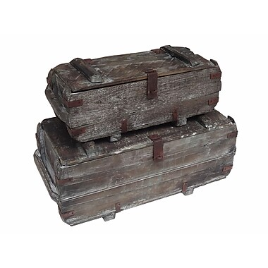 Cheungs 2 Piece Wood Storage Trunks Set