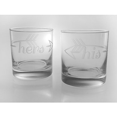 Rolf Glass Bridal His & Hers on the Rocks 11 Oz. Glass (Set of 2)