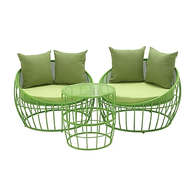 Cole & Grey 3 Piece Lounge Seating Group w/ Cushion; Green