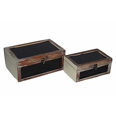 Cheungs 2 Piece Wooden Box w/ Black Painted Glass Set; Black