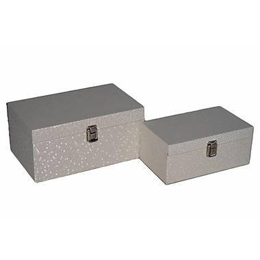Cheungs 2 Piece Wood Boxs w/ Vinyl Shimmer Design Set; White