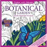Color with Music Adult Colouring Book, Botanical Garden, Music from Mystic Sea, 48 Pictures