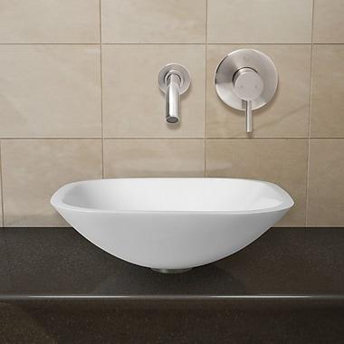 Vigo Phoenix Glass Square Vessel Bathroom Sink w/ Faucet; Brushed Nickel