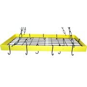 Rogar Custom Rectangle Ceiling Mount Pot Rack w/ Grid; Lemon/Black