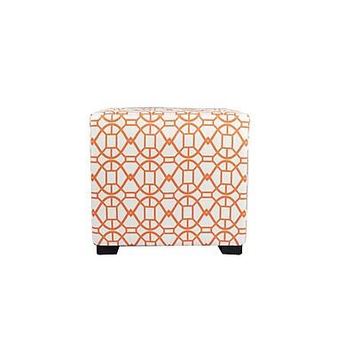 MJLFurniture Noah 4 Button Tufted Ottoman; Orange