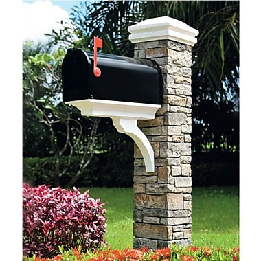 EyeLevel Mailbox Post with Brace and Curved Cap; Gray