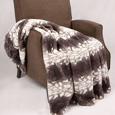 BOON Throw & Blanket Natural Animal Faux Fur Throw Blanket; Grey Wolf