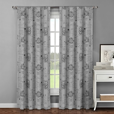 Window Elements Royal Graphic Print & Text Sheer Curtain Panels (Set of 2); Dark Grey
