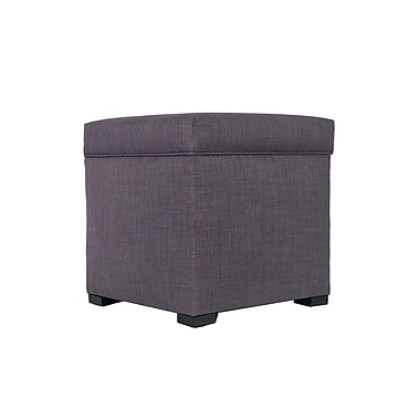 MJLFurniture Tami Upholstered Storage Ottoman; Gray / Red Tint
