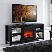 """Walker Edison 58"""" Wood Fireplace TV Stand, Black (SP58FP18BL)"""