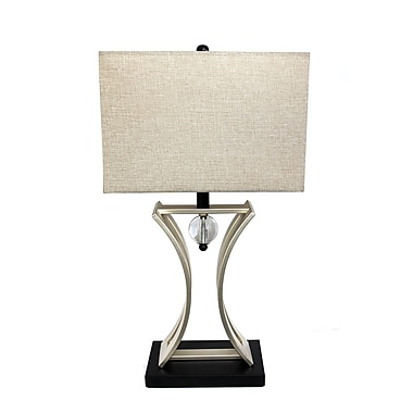 Elegant Designs Conference Room Hourglass Shape With Pendulum Table Lamp, Black/Chrome Finish