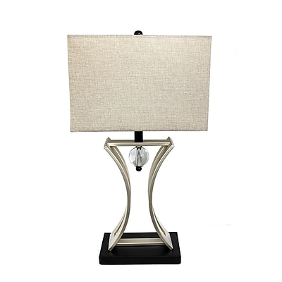 Elegant Designs Conference Room Hourglass Shape With Pendulum Table Lamp, Black/Chrome Finish