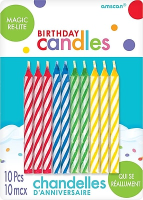 Amscan Spiral Design Re-Light Birthday Candles, 2.5'', Red, Blue, Green, Yellow, 12/Pack, 10 Per Pack (8065.99)