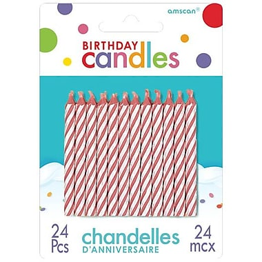Amscan Spiral Birthday Candle, 2.5'', Red, 12/Pack, 24 Per Pack (17105.06)