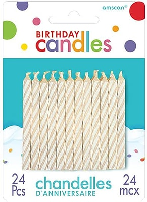 """Amscan Spiral Birthday Candles, 2.5"""", White, 12/Pack, 24 Per Pack (17105.08)"""