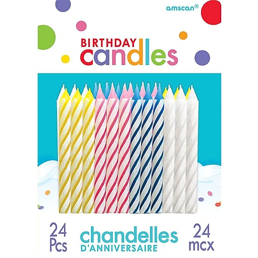 Amscan Spiral Birthday Candles 25 Assorted 12 Pack 24 Per 1710599