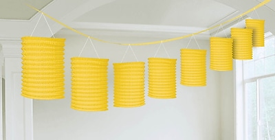 Amscan Paper Lantern Garland, 12', Sunshine Yellow, 3/Pack (22055.09)