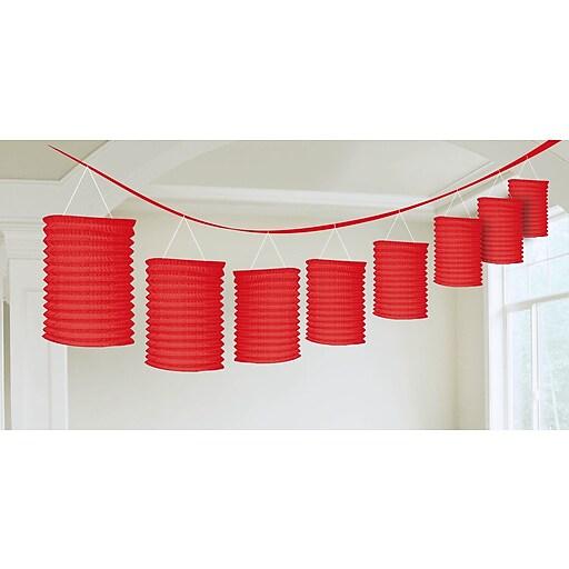 Amscan Paper Lantern Garland, 12', Apple Red, 3/Pack (22055.4)