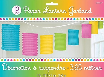 Amscan Paper Lantern Garland, 12', Multicolored, 3/Pack (22055.90)