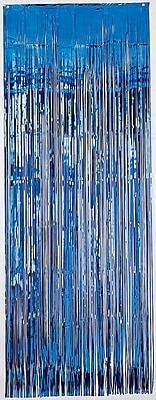 Amscan Metallic Curtains, 8' x 3', Blue,