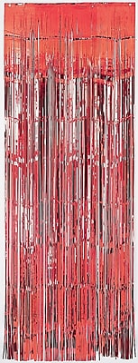 Amscan Metallic Curtains, 8' x 3', Red,