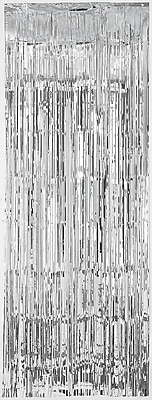 Amscan Metallic Curtains, 8' x 3', Silver,
