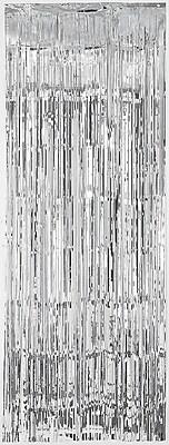 Amscan Metallic Curtains, 8' x 3', Silver, 4/Pack (24200.18)