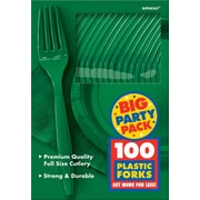 Amscan Big Party Pack Mid Weight Forks, Green, 3/Pack, 100 Per Pack (43600.03)