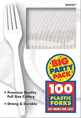 Amscan Big Party Pack Mid Weight Fork, White, 3/Pack, 100 Per Pack (43600.08)