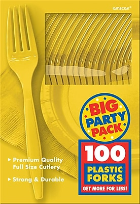 Amscan Big Party Pack Mid Weight Fork, Sunshine Yellow, 3/Pack, 100 Per Pack (43600.09)