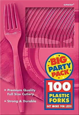 Amscan Big Party Pack Mid Weight Fork, Bright Pink, 3/Pack, 100 Per Pack (43600.103)
