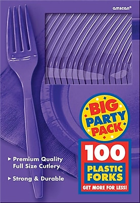 Amscan Big Party Pack Mid Weight Fork, Purple, 3/Pack, 100 Per Pack (43600.106)