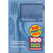 Amscan Big Party Pack Mid Weight Fork, Pastel Blue, 3/Pack, 100 Per Pack (43600.108)