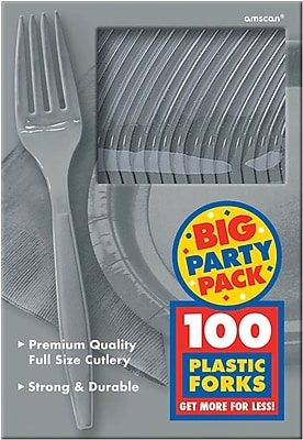 Amscan Big Party Pack Mid Weight Fork, Silver, 3/Pack, 100 Per Pack (43600.18)