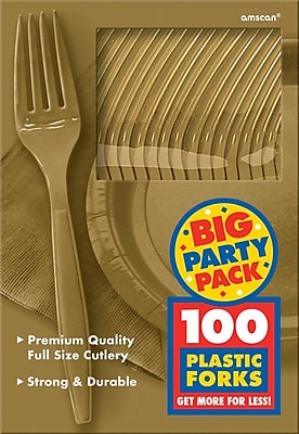 Amscan Big Party Pack Mid Weight Fork, Gold, 3/Pack, 100 Per Pack (43600.19)