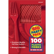 Amscan Big Party Pack Mid Weight Fork, Red, 3/Pack, 100 Per Pack (43600.40)