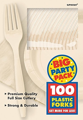Amscan Big Party Pack Mid Weight Fork, Vanilla, 3/Pack, 100 Per Pack (43600.57)