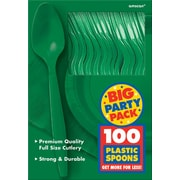 Amscan Big Party Pack Mid Weight Spoon, Green, 3/Pack, 100 Per Pack (43601.03)