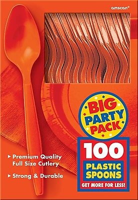 Amscan Big Party Pack Mid Weight Spoon, Orange, 3/Pack, 100 Per Pack (43601.05)