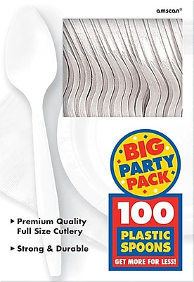 Amscan Big Party Pack Mid Weight Spoon, White, 3/Pack, 100 Per Pack (43601.08)