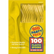 Amscan Big Party Pack Mid Weight Spoon, Sunshine Yellow, 3/Pack, 100 Per Pack (43601.09)