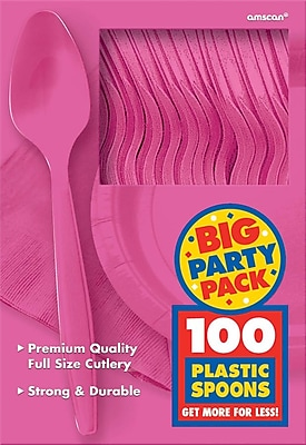 Amscan Big Party Pack Mid Weight Spoon, Bright Pink, 3/Pack, 100 Per Pack (43601.103)