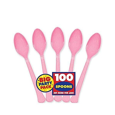 Amscan Big Party Pack Mid Weight Spoon, Pink, 3/Pack, 100 Per Pack (43601.109)