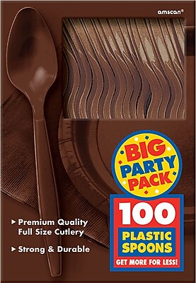 Amscan Big Party Pack Mid Weight Spoon, Brown, 3/Pack, 100 Per Pack (43601.111) 1969683